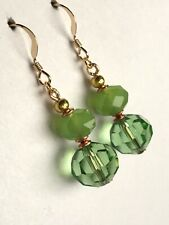 crystal glass 14ct gold filled earrings Art Deco style Peridot / jade green