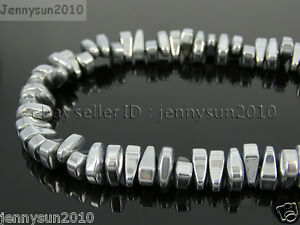 Natural Hematite Gemstone 8mm x 12mm Freeformed Loose Beads Silver 16'' Strand