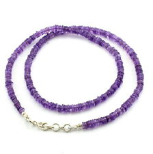 Necklace natural amethyst gemstone 925 solid sterling silver beaded jewelry 22gm