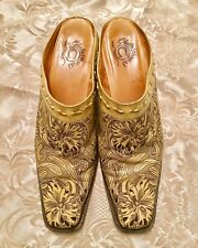 Womens CHARLIE 1 HORSE by Lucchese Western Beige Embroidered Boots Mules 8 1/2B