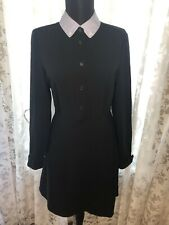 Coach Sz 2 Collard Button Down Dress Long Sleeve Pockets Black & Blue