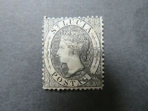 1876 St Lucia 1d Black P14 SG15 Used