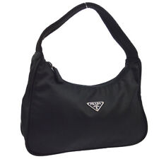 PRADA Logos Hand Bag Hobo #31 Purse Black Nylon Italy Authentic AK40946