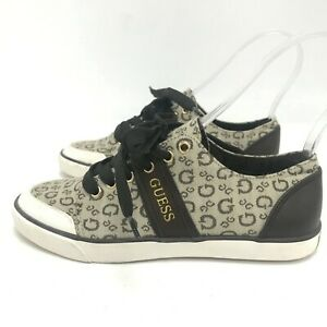 Guess Trainers UK 4.5 Womens Brown Beige Monogram Low Top Casual Lace Up 171076