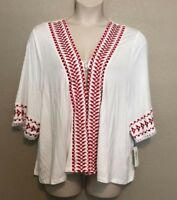 NEW Style&Co White/Red Embroidered Fringed Kimono Cardigan Plus Sizes 1X/2X/3X