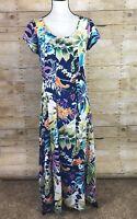 JAMS WORLD Maxi Dress Valencia Floral Womens Small Tie Back Blue Hawaiian Aloha
