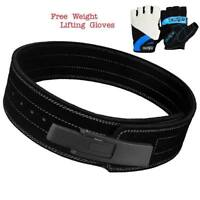 Weight Power Lifting Leather Lever Pro Belt Gym Training Powerlifting Black