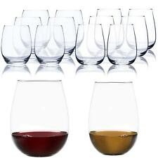 Classic Stemless Wine Glass Shatter-Resistant White Red Wines Glasses 12 Set