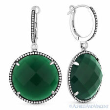 24.78ct Green Agate & Diamond Halo Pave Dangling Drop Earrings in 14k White Gold