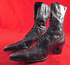 Unworn Victorian Vintage John S. Gray Unworn Black Leather High Top Laceup Boots