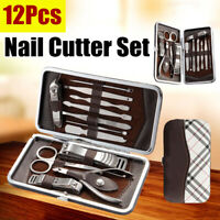 Pedicure Manicure Kit 12Pcs Set Nail Care Polish Clipper Cutter Travel Case US