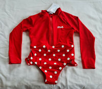 Fila Girls Red Polkadot Printed 1 Piece Paddlesuit Bathers Swimsuit Size 4 New