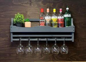 Wine Rack Grey Gin Rack Shelf Home Bar - Bottle & 6 Gin Glass Holder (6GGR)EM