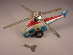 Vintage Tin Helicopter wind up Toy with Key