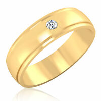 0.10 ct Diamond Engagement Mens Rings Fine 14K Yellow Gold Round Band I-J/SI1