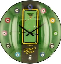 "Billiard Ball Sport Clock 13"" x 13"" Wall Clock Quartz Movement Man Cave GameRoom"