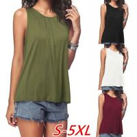 Summer Women Casual Loose T-Shirt Plus Size Tops Sleeveless Shirt Solid Blouses