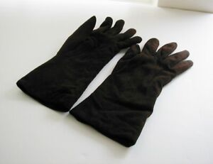 Coach Suede Gloves Cashmere Lining Sz 8 Made in Italy Dark Brown USED 10 in long