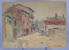 """René Ligeron (1880-1946) - """"Sancerre"""", fusain et aquarelle sur carton"""