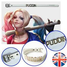 *UK Seller* White Leather Puddin Choker Harley Collar Necklace Suicide Costume
