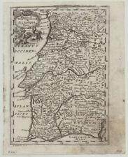 PORTUGAL Lissabon Original Kupferstich Landkarte  von 1738 Algarve Porto Faro