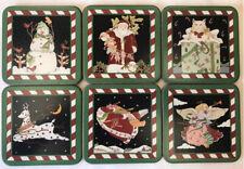 6 PIMPERNEL Coaster Square Cork-Backed Christmas Cat Angel Santa Snowman England