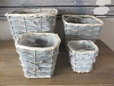 SET OF 4 SQUARE RATTAN BRANCH BASKETS GREY WASHED PLASTIC INNER LINED