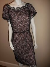 St John Black Lace sheath dress sz 10 EUC