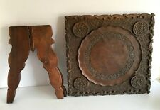 1890's India Antique Wooden Fine Hand Carved Floral Carved Folding Rare Table