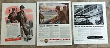 War's  End Home Coming WWII Ads, 3 different