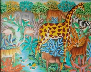 Vintage Artist Original Ethnic Folk Art Haitian Animal Oil Painting