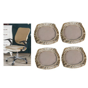 4Pieces Removable Stretch Velvet Chair Covers Seating Stool Home Decor Khaki