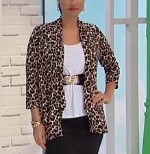 Slinky Brand Leopard Printed Peplum Jacket in S