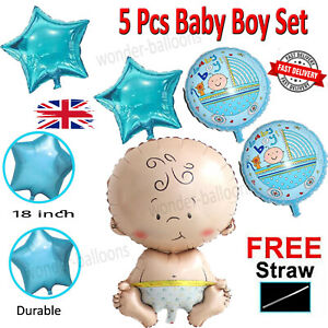 "30"" Baby Shower Balloons Boy 5pcs Foil Pink Blue Decorations Party Balon UK"