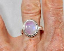 Rainbow Moonstone Flashy Pink Small Oval Ring 925 Sterling Silver Size 9