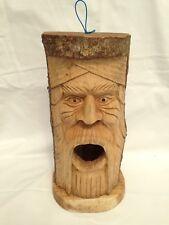 Fair Trade Hand Made Wooden Green Man Garden Log Wild Bird House Nesting Box