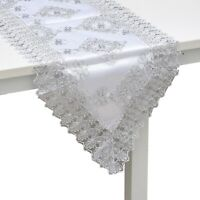 White Silver Floral Pattern Polyester Lace Decoration Dinning Table Runner