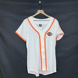 Womens Harley Davidson Baseball Jersey White Beach House Shallotte NC Size XL