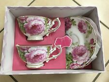 Tea Set With Rose Pattern. 2 Cups And 2 Saucers. New Bone China.
