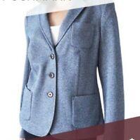NEW $159 TALBOTS Heather Blue Wool Blnd Knit Suit,Jacket,Blazer Sz 12P,12 Petite