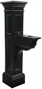 Mailbox Post Plastic Fade Resistant in Black with Newspaper Holders/Receptacles