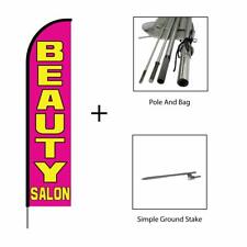 Beauty Salon Feather Flag Swooper Banner Pole Kit Advertising Sign, 15ft - Pink