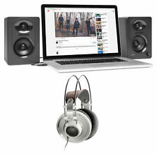 AKG K701 Premium Open-Back Studio Reference Headphones+Samson Monitor Speakers