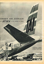 PUBLICITE ADVERTISING 124  1960  TAI  compagnie aérienne JET DC-8 aéroport PARIS