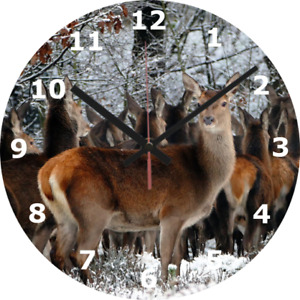 WALL CLOCK DEER 25cm Wildlife Home Forest Home Decor Nature animal Kitchen 358