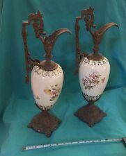 "Vintage Pair Brass Ceramic 18"" Pitcher Floral Gold Accents Art Nouveau Footed"