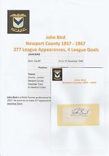 JOHN BIRD NEWPORT COUNTY 1957-1967 ORIGINAL HAND SIGNED CUTTING/CARD