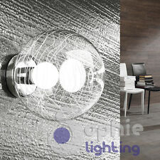 Applique muro globo sfera design moderno cromo vetro decoro bianco bagno salone