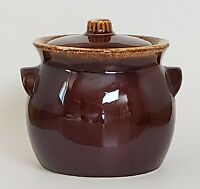 """Hull Oven Proof Bean Pot and Lid Mirror Brown Vintage Made in USA 6"""""""