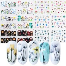 12pcs Flower Nail Stickers Summer Floral Rose Sea Foils Sliders Water Decals Art